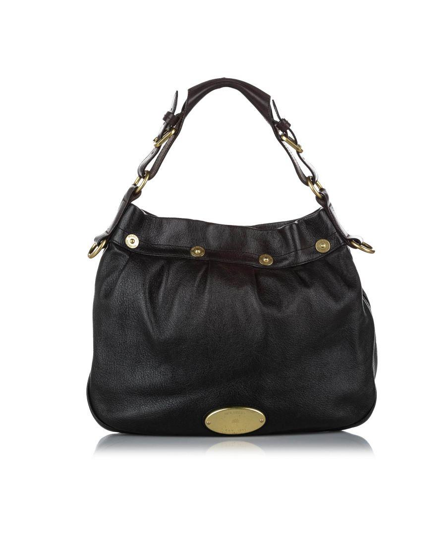 Image for Vintage Mulberry Mitzy Leather Shoulder Bag Black
