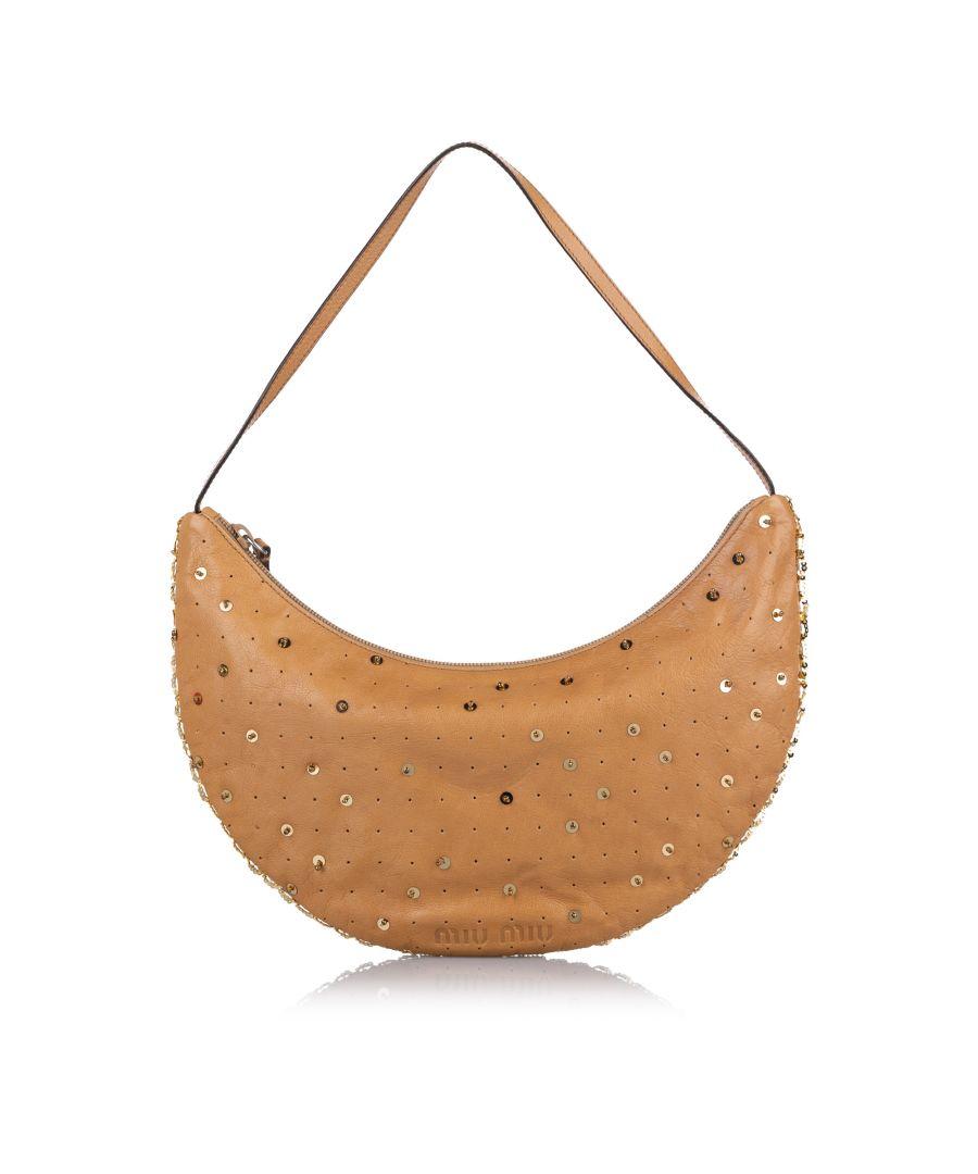 Image for Vintage Miu Miu Embellished Leather Baguette Brown
