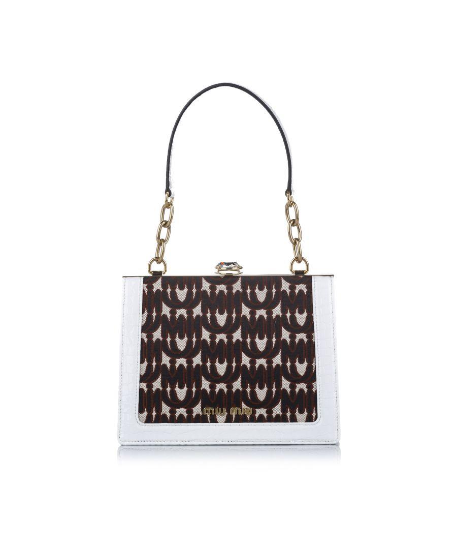 Image for Vintage Miu Miu Miu Solitaire Canvas Shoulder Bag White