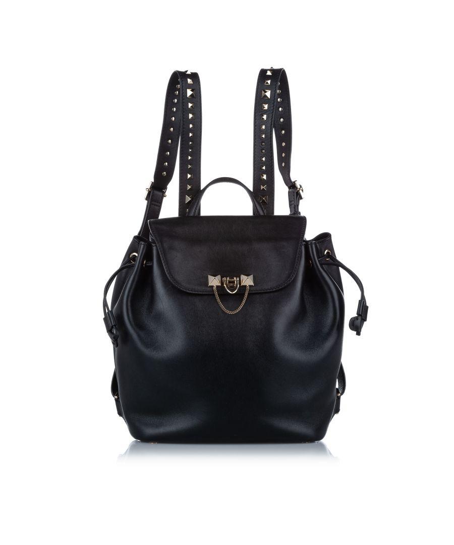 Image for Vintage Valentino Leather Backpack Black