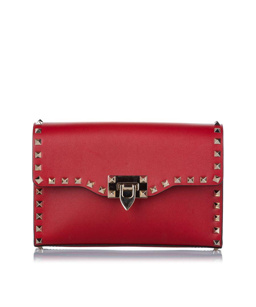 Image for Vintage Valentino Rockstud Leather Crossbody Bag Red