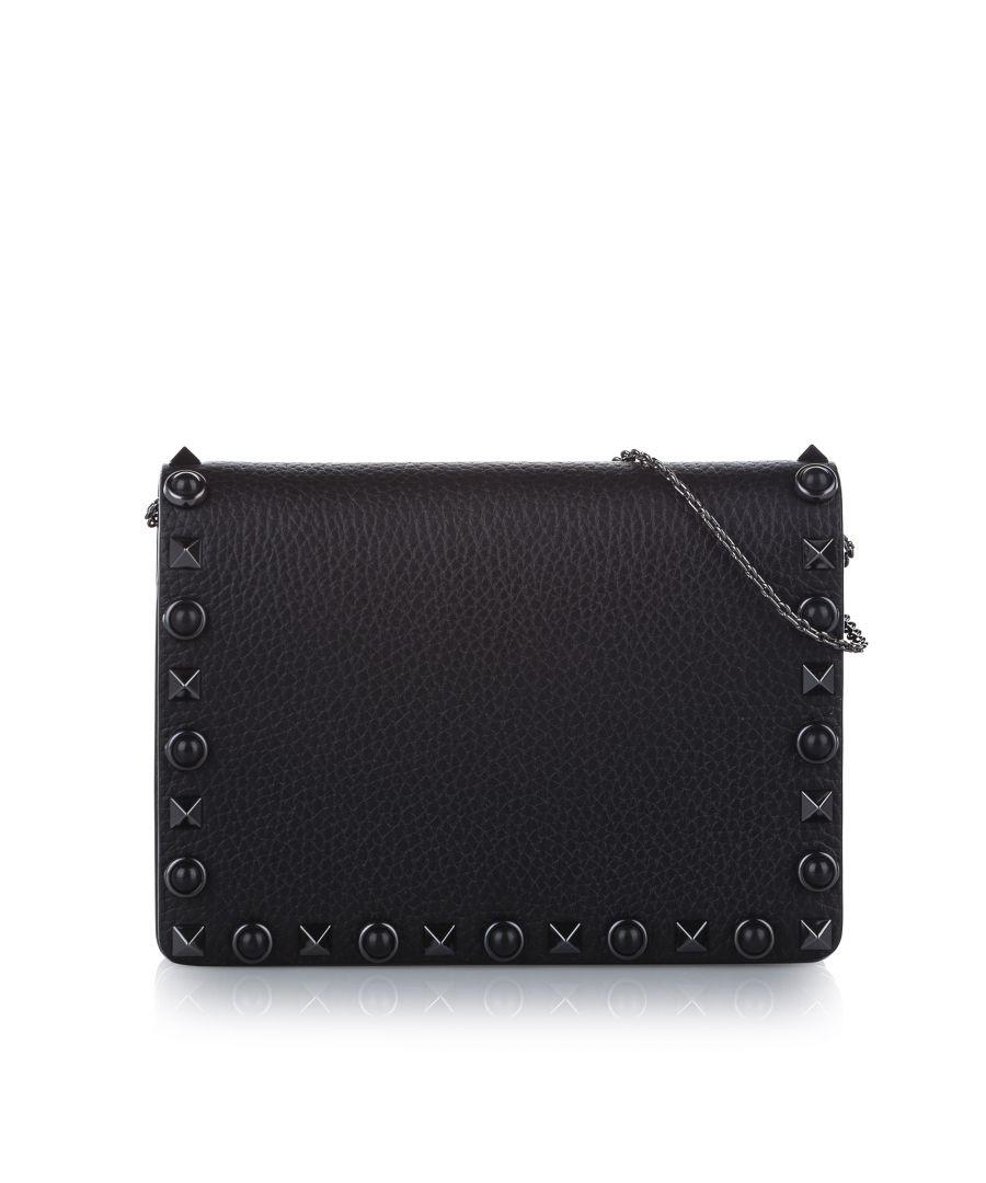 Image for Vintage Valentino Rockstud Leather Crossbody Bag Black