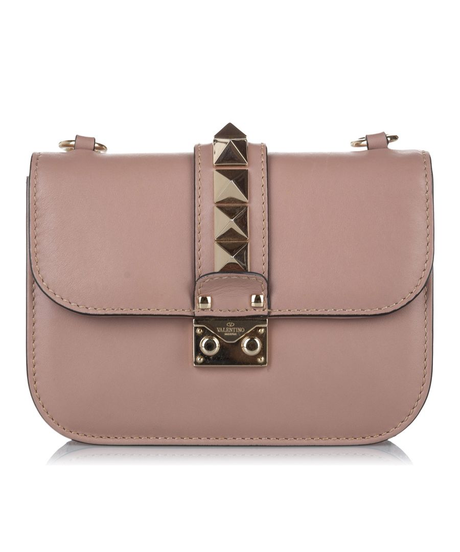Image for Vintage Valentino Rockstud Glam Lock Leather Crossbody Bag Brown