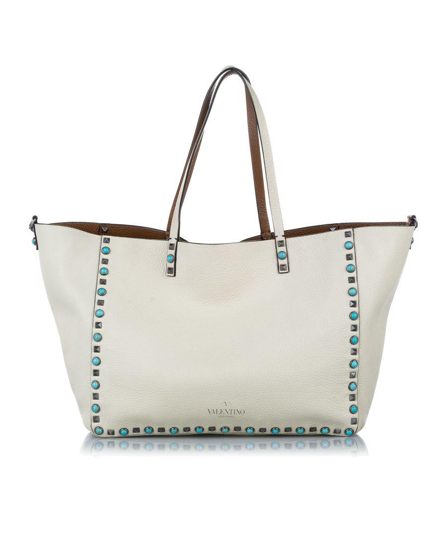 Image for Vintage Valentino Rockstud Leather Tote Bag White