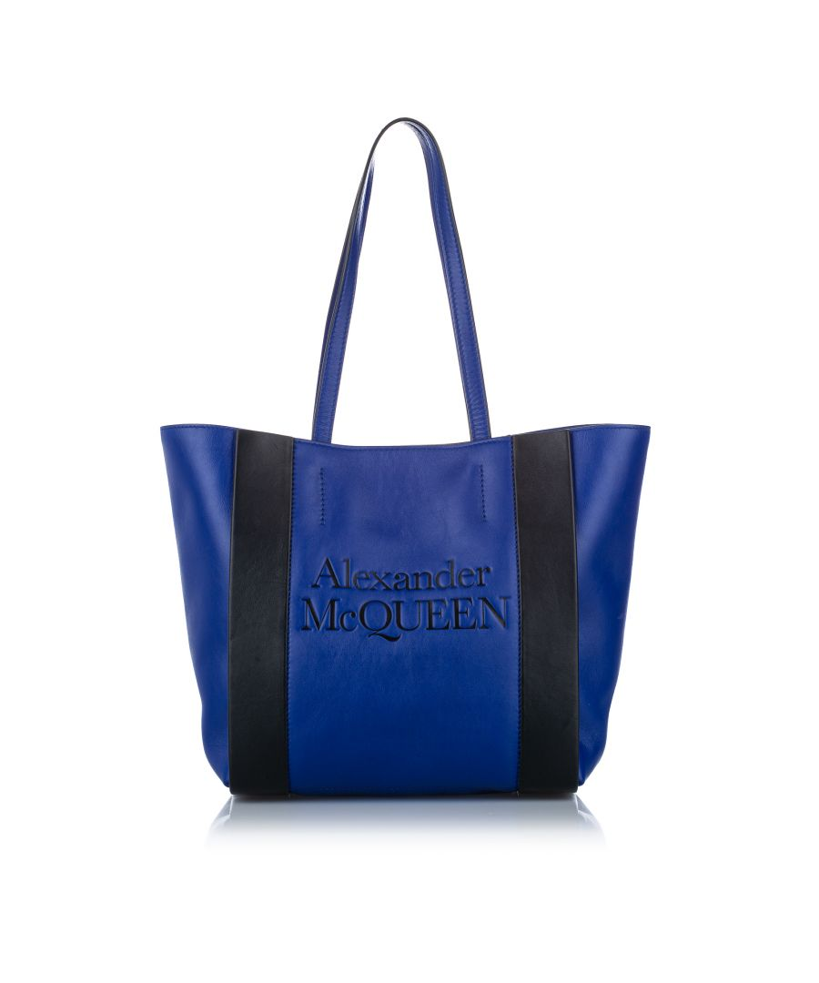 Image for Vintage Alexander McQueen Logo Leather Tote Bag Blue