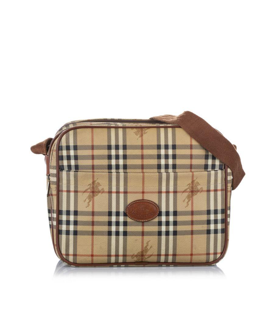 Image for Vintage Burberry Haymarket Check Crossbody Bag Brown