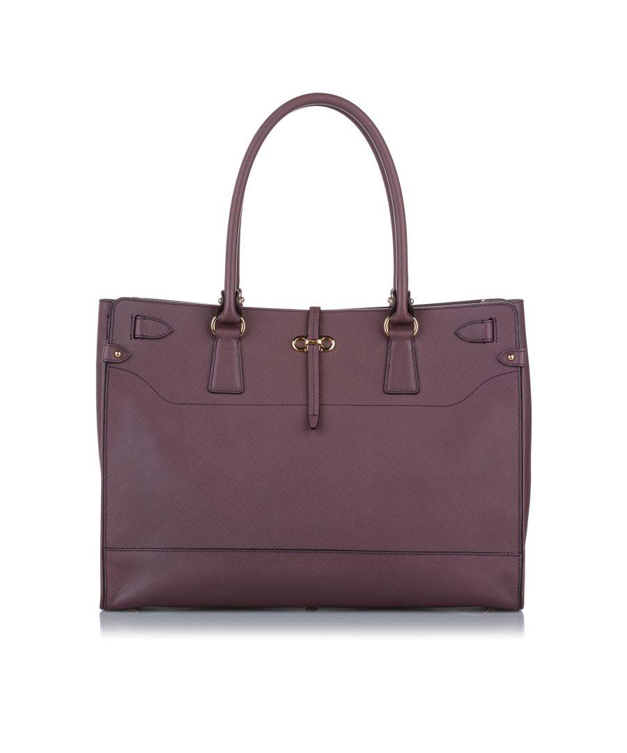 Image for Vintage Ferragamo Bice Leather Tote Bag Purple
