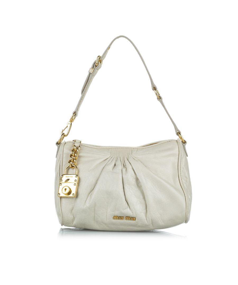 Image for Vintage Miu Miu Lambskin Leather Shoulder Bag Gray