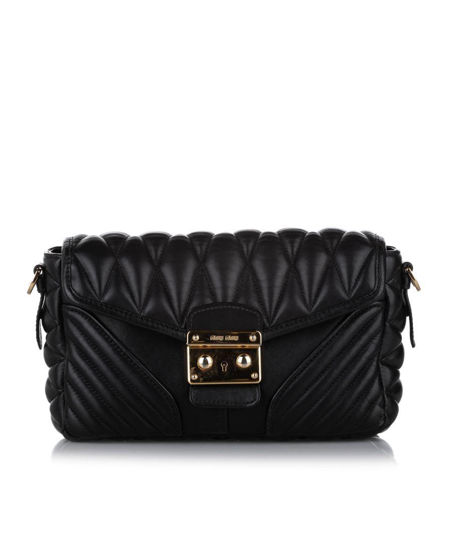 Image for Vintage Miu Miu Matelasse Leather Crossbody Bag Black