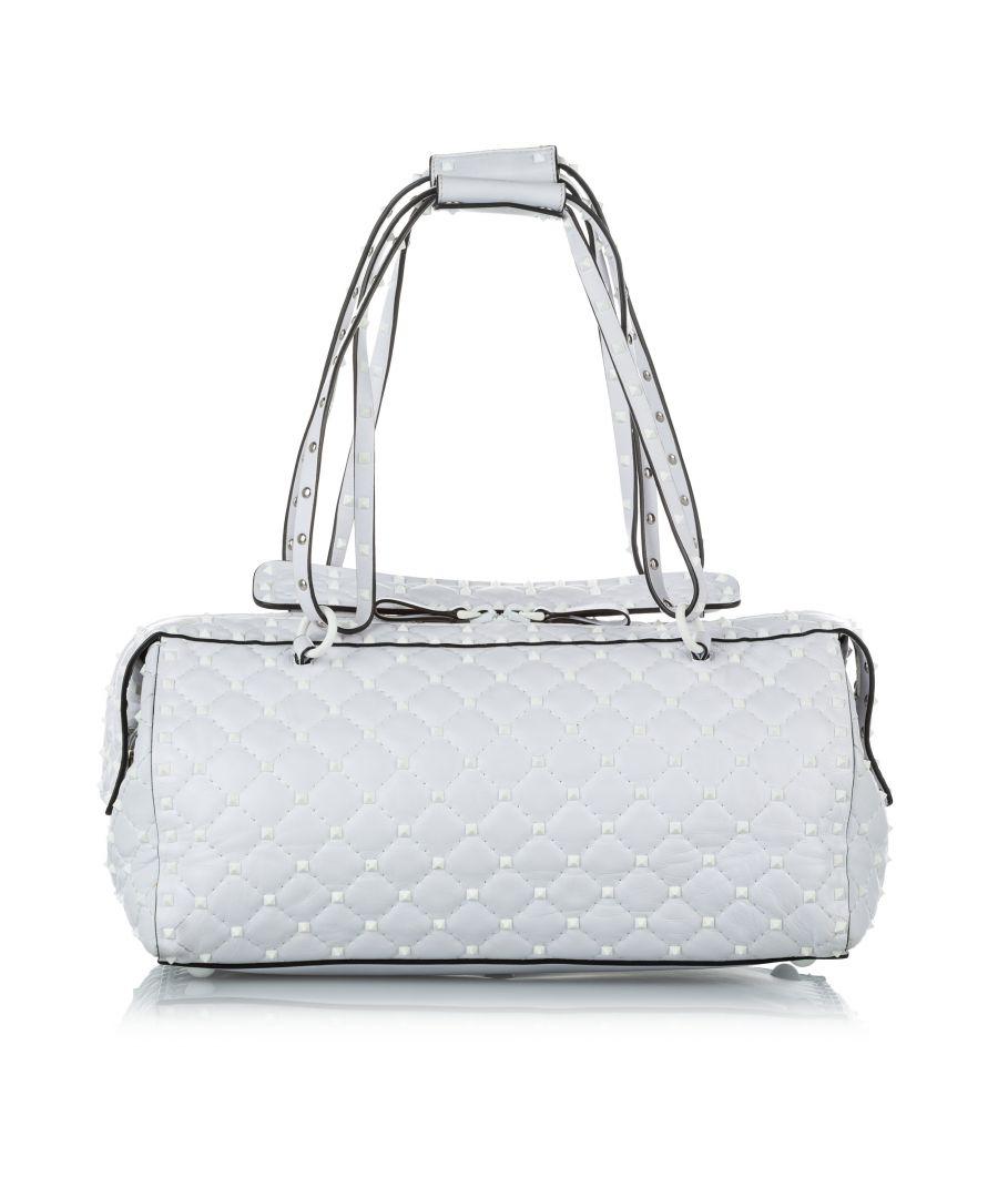 Image for Vintage Valentino Free Rockstud Spike Leather Handbag White