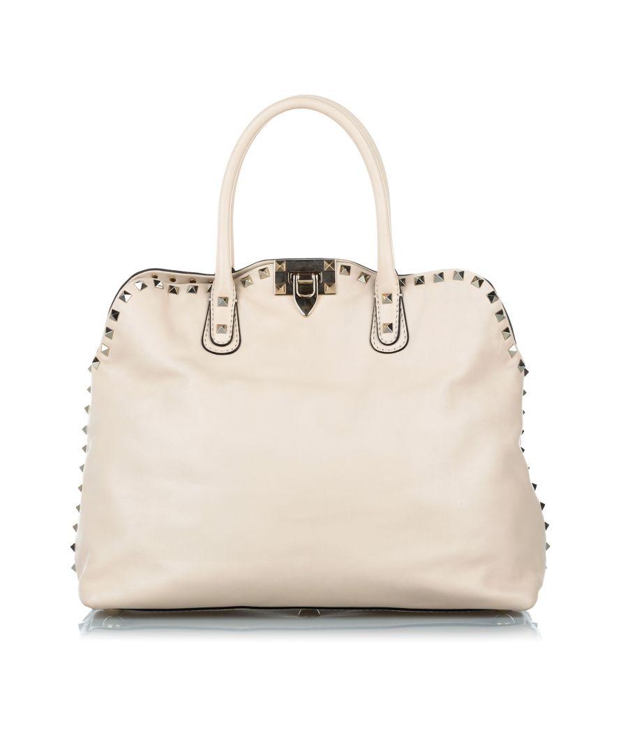 Image for Vintage Valentino Rockstud Leather Satchel White