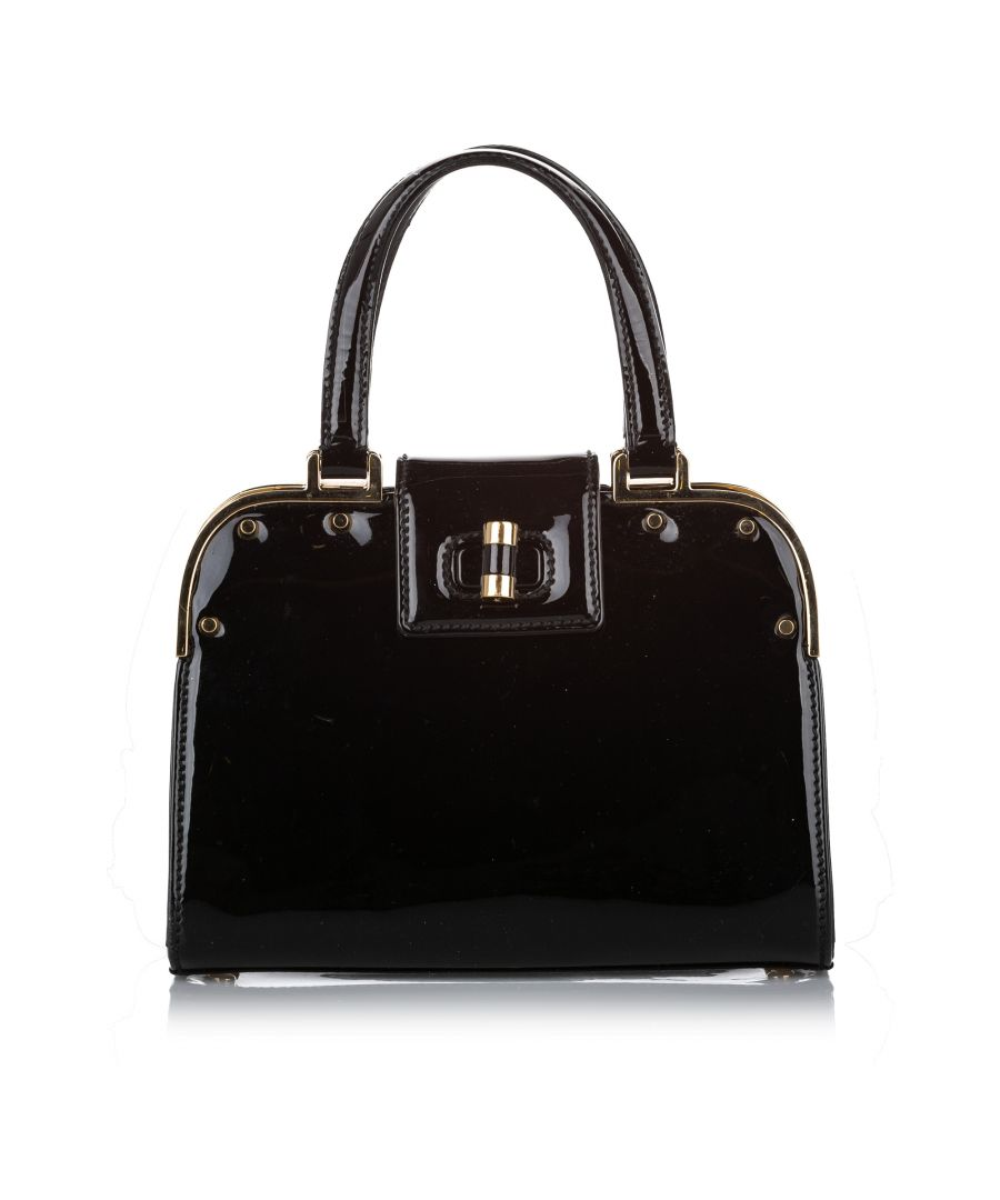 Image for Vintage YSL Small Uptown Patent Leather Handbag Black