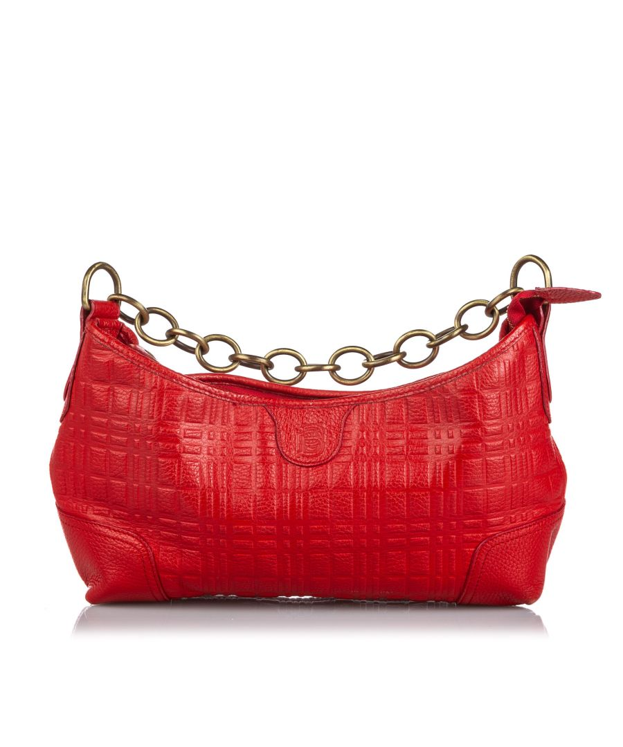 Image for Vintage Burberry Leather Chain Shoulder Bag Red