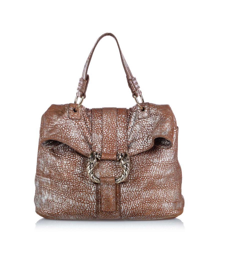 Image for Vintage Bvlgari Metallic Leather Leoni Brown