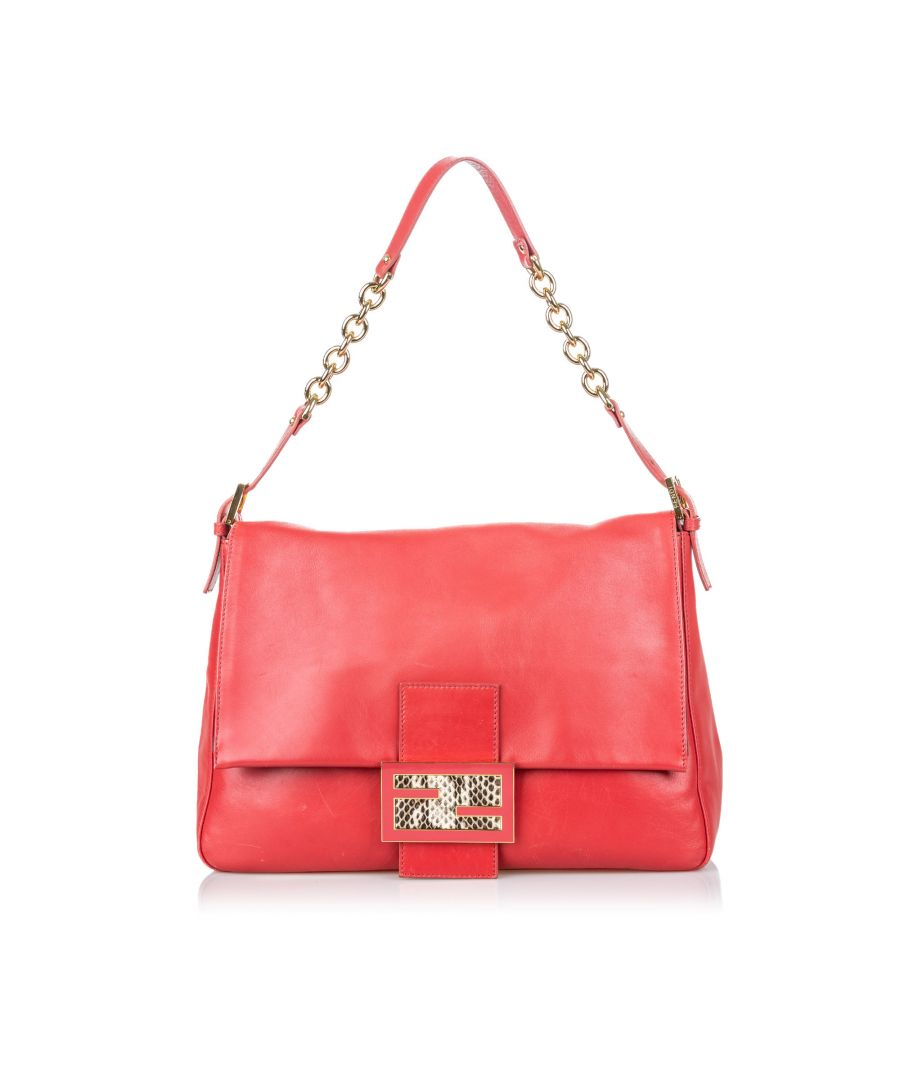 Image for Vintage Fendi Leather Mamma Forever Red