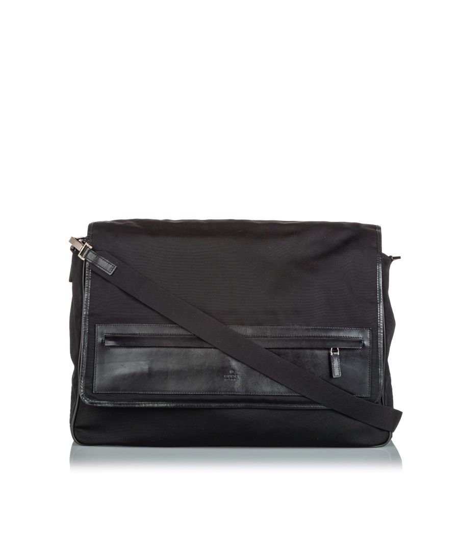 Image for Vintage Gucci Canvas Messenger Bag Black