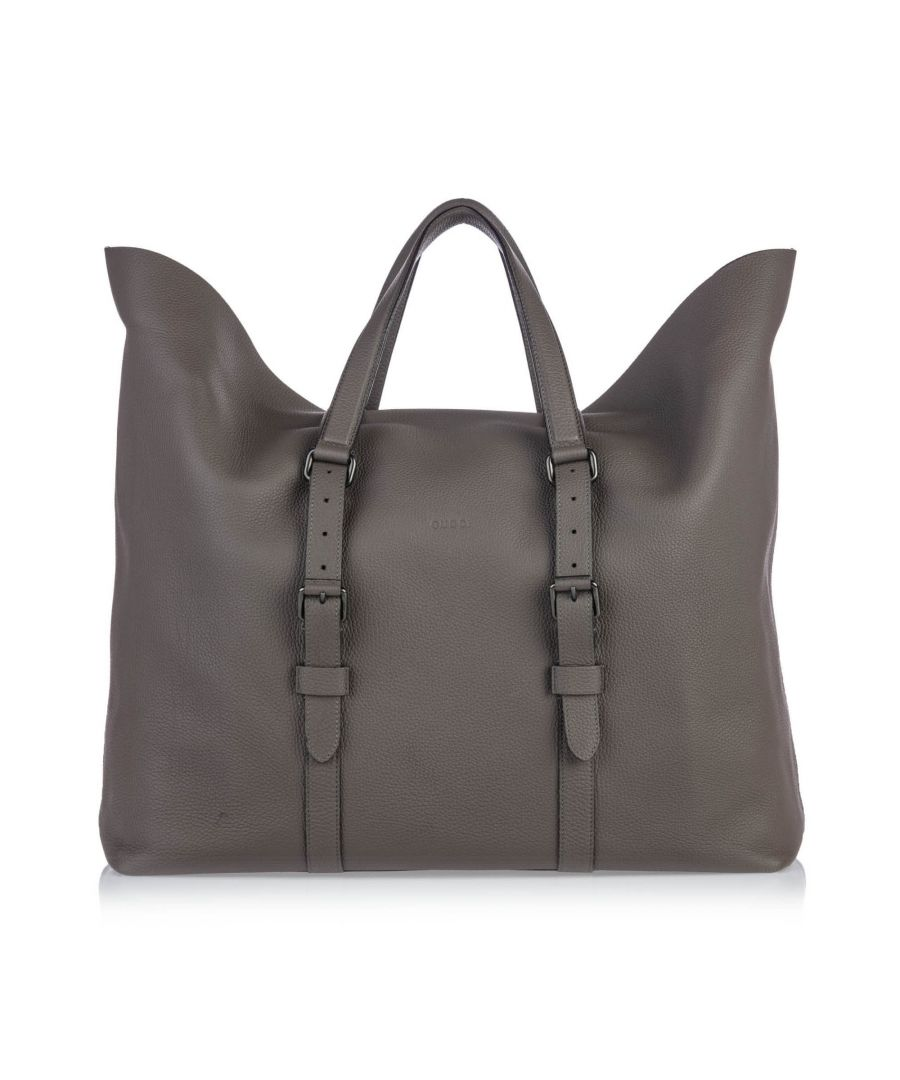 Image for Vintage Gucci Leather Grand Prix Weekend Duffel Bag Gray