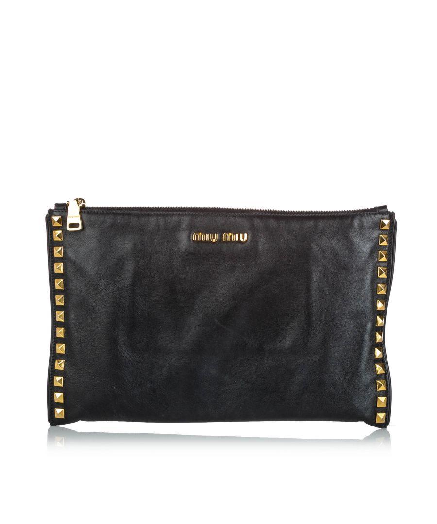 Image for Vintage Miu Miu Studded Soft Calf Leather Clutch Black