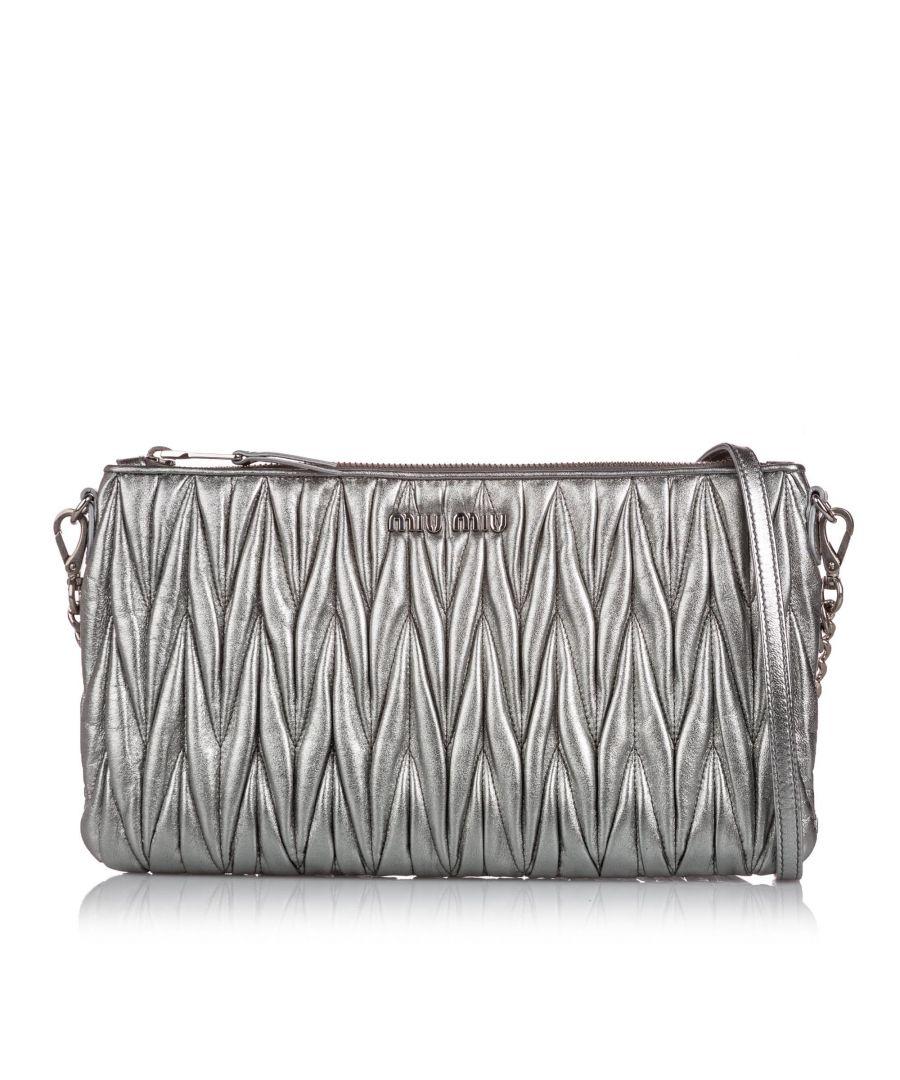 Image for Vintage Miu Miu Metallic Matelasse Leather Crossbody Bag Silver