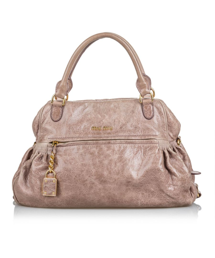Image for Vintage Miu Miu Lambskin Leather Shoulder Bag Brown