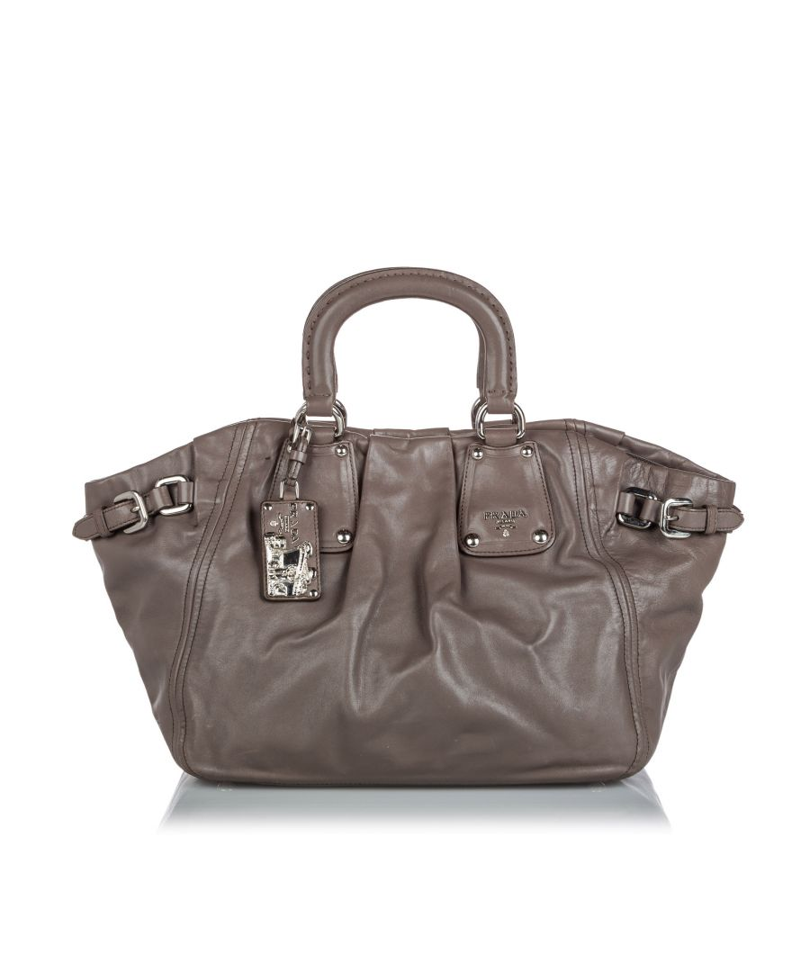 Image for Vintage Prada Leather Satchel Gray