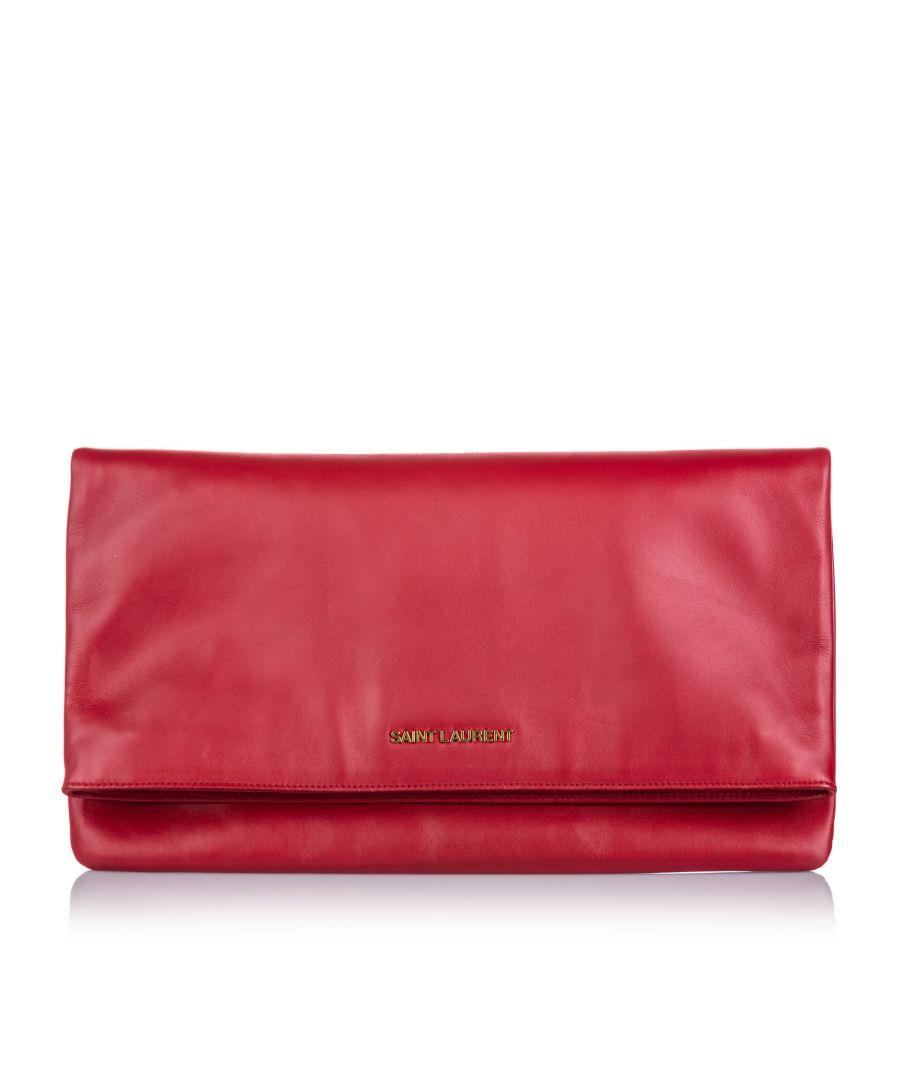 Image for Vintage YSL Leather Fold Over Clutch Bag Red