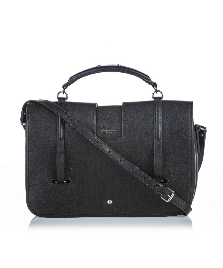 Image for Vintage YSL Leather Charlotte Satchel Black