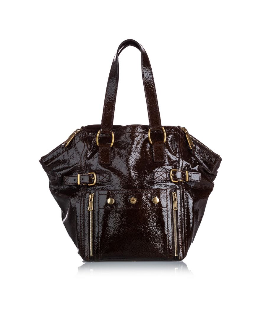 Image for Vintage YSL Patent Leather Downtown Tote Bag Brown