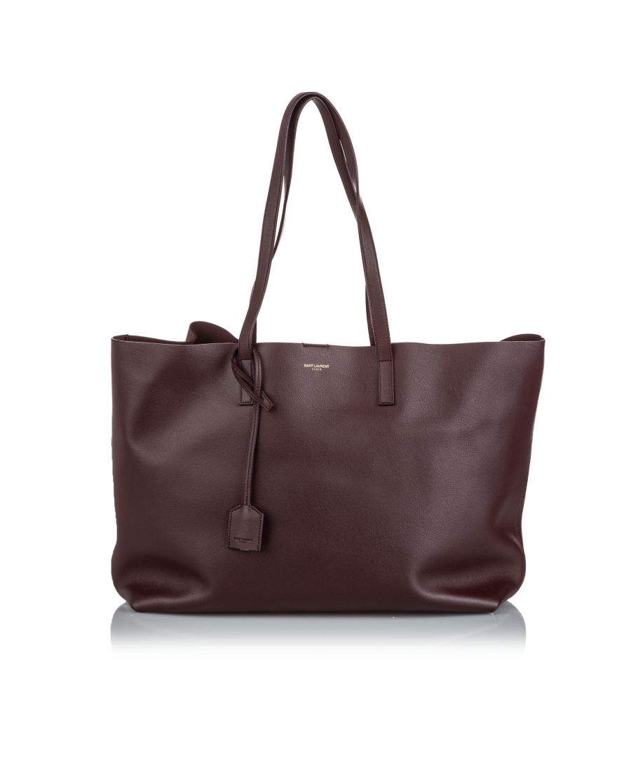 Image for Vintage YSL Leather East West Shopping Tote Brown