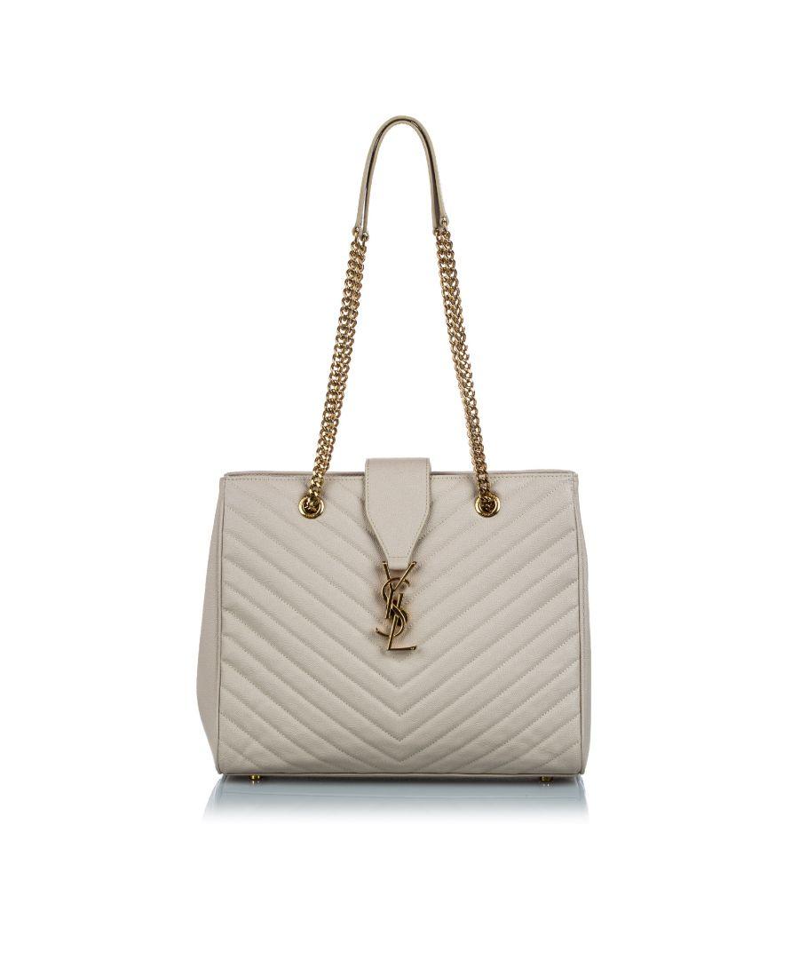 Image for Vintage YSL Cassandre Shopping Tote White