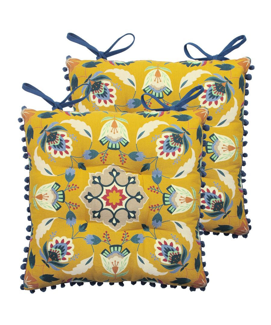 Image for Folk Floral 2 Pack Seat Pads