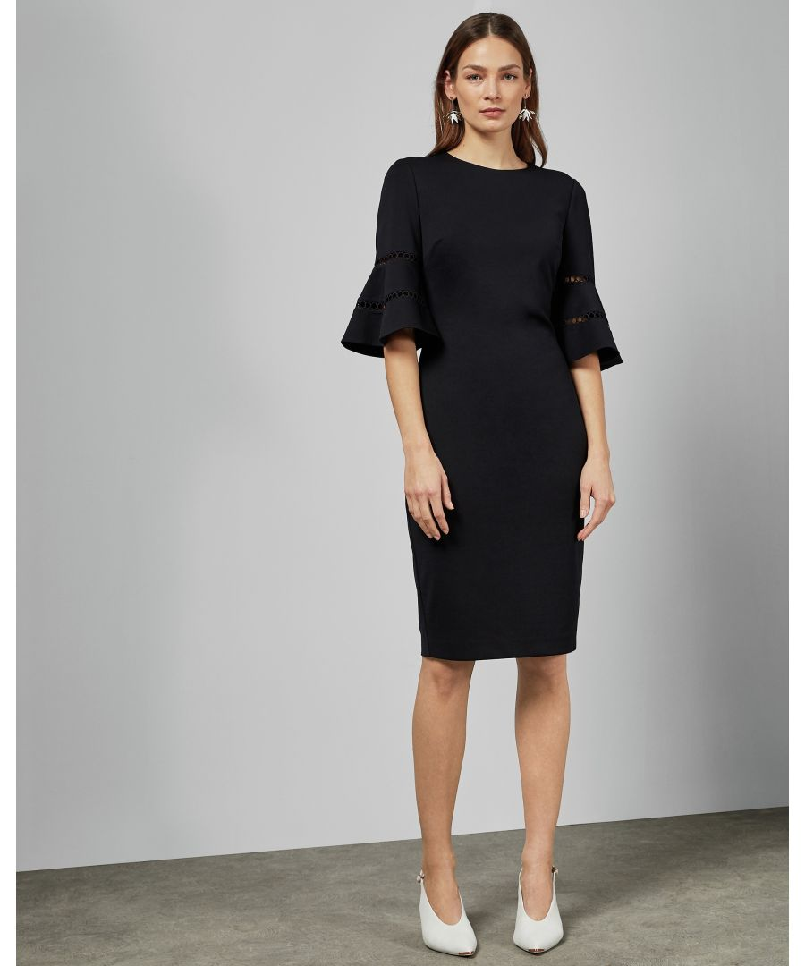 Image for Ted Baker Filnio Lace Sleeve Bodycon Dress, Navy