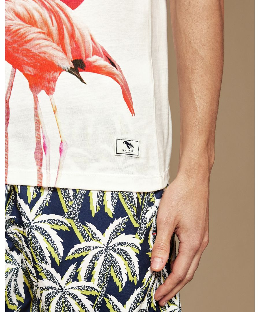 Image for Ted Baker Flaameo Short-Sleeved Flamingo Placement T-Shirt, White
