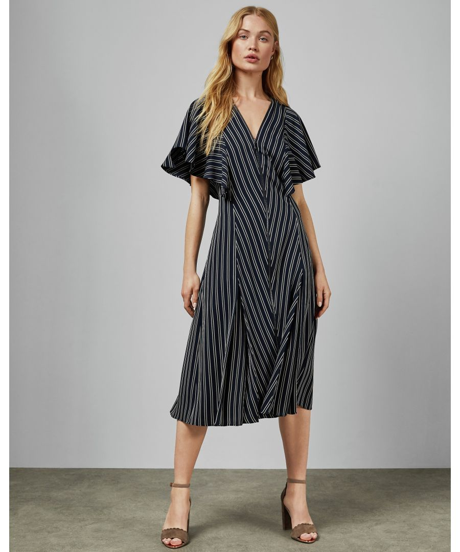 Image for Ted Baker Flissie Zip Front Striped Midi Dress, Navy