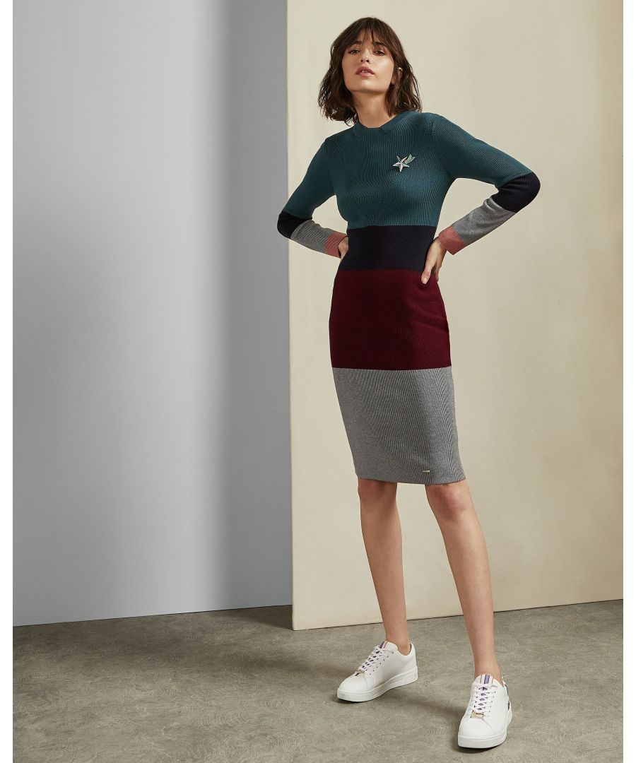 Image for Ted Baker Franae Cbn Ribbed Knitted Dress, Teal Blue