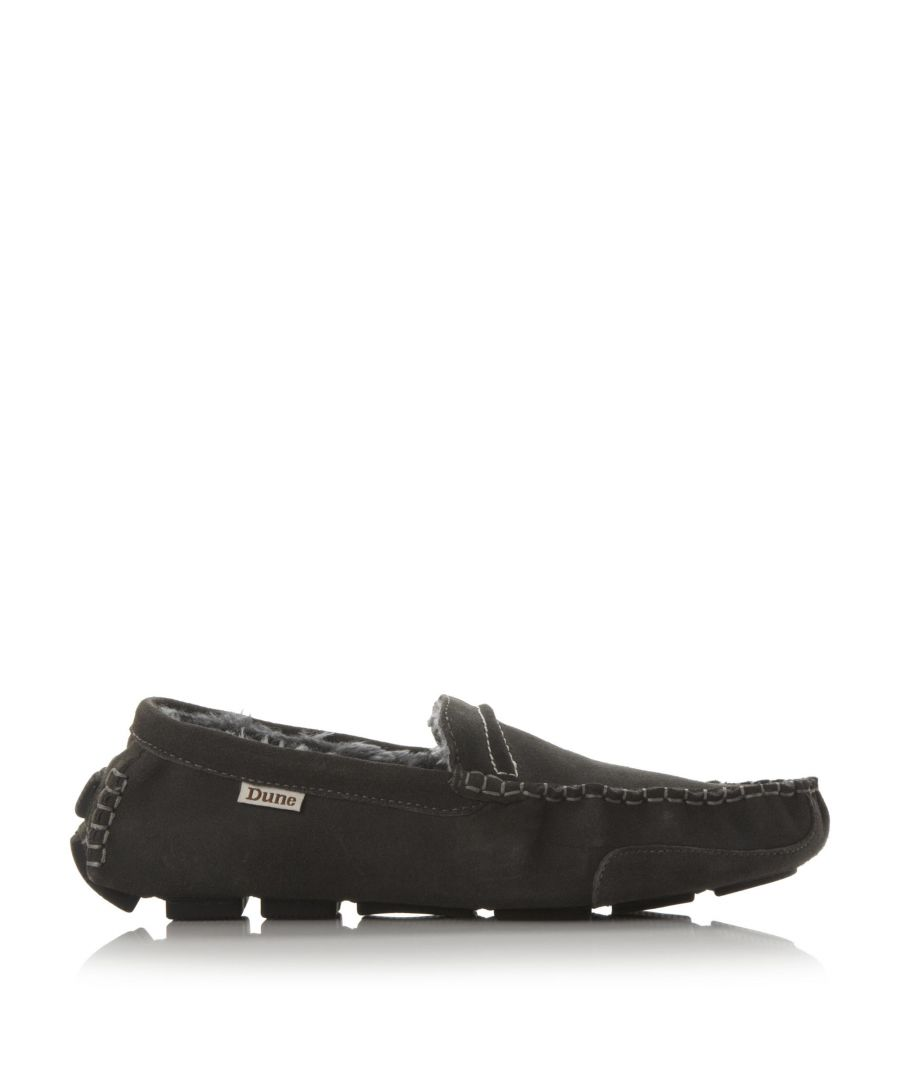 Image for Dune Mens FREDDIE Faux Fur-Lined Suede Driver Slipper