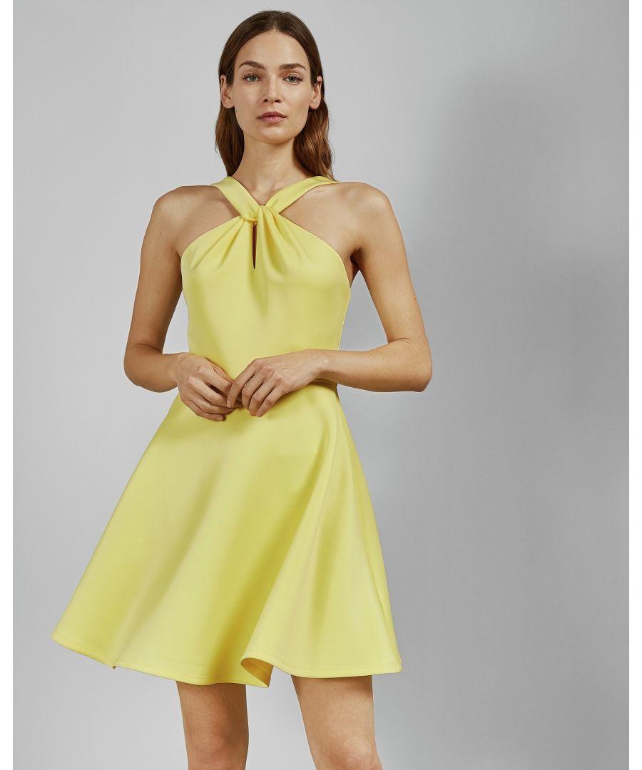 Image for Ted Baker Freeda Twist Neck Skater Dress, Light Yellow