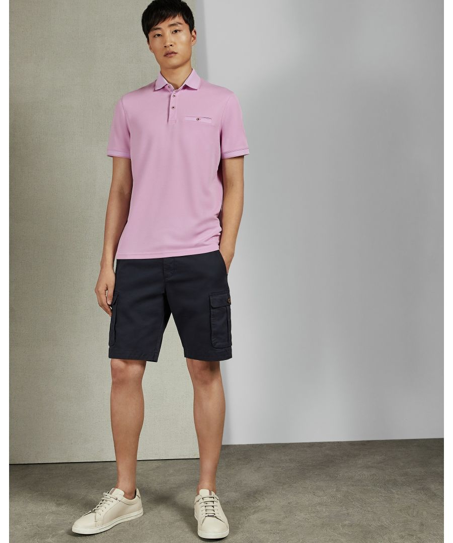 Image for Ted Baker Frog Short-Sleeved Flat Knit Polynosic Polo, Pink