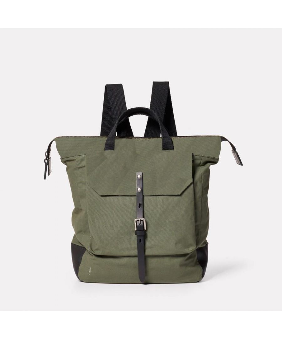 Image for Frances Waxed Cotton Rucksack in Olive