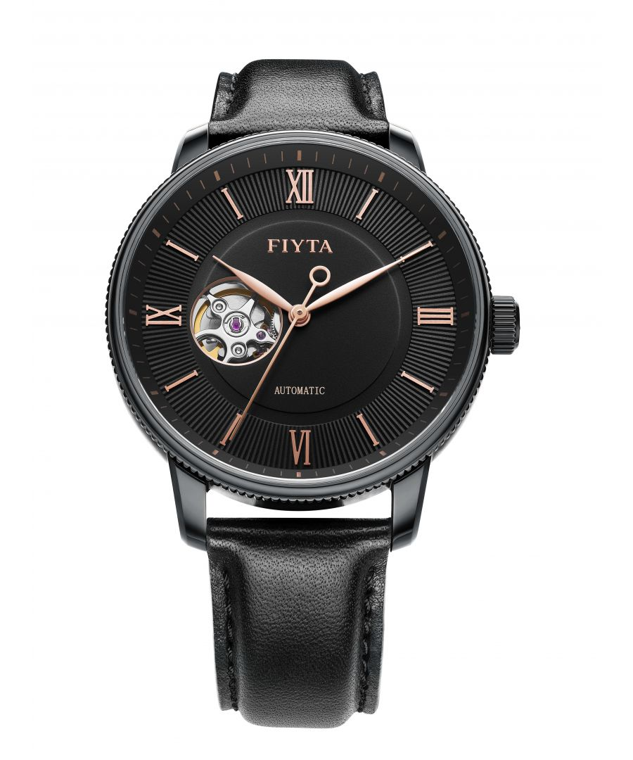 Image for Fiyta Mens Automatic Black Skeleton Watch