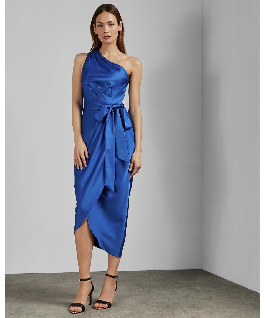 Image for Ted Baker Gabie One Shoulder Drape Midi Dress, Blue