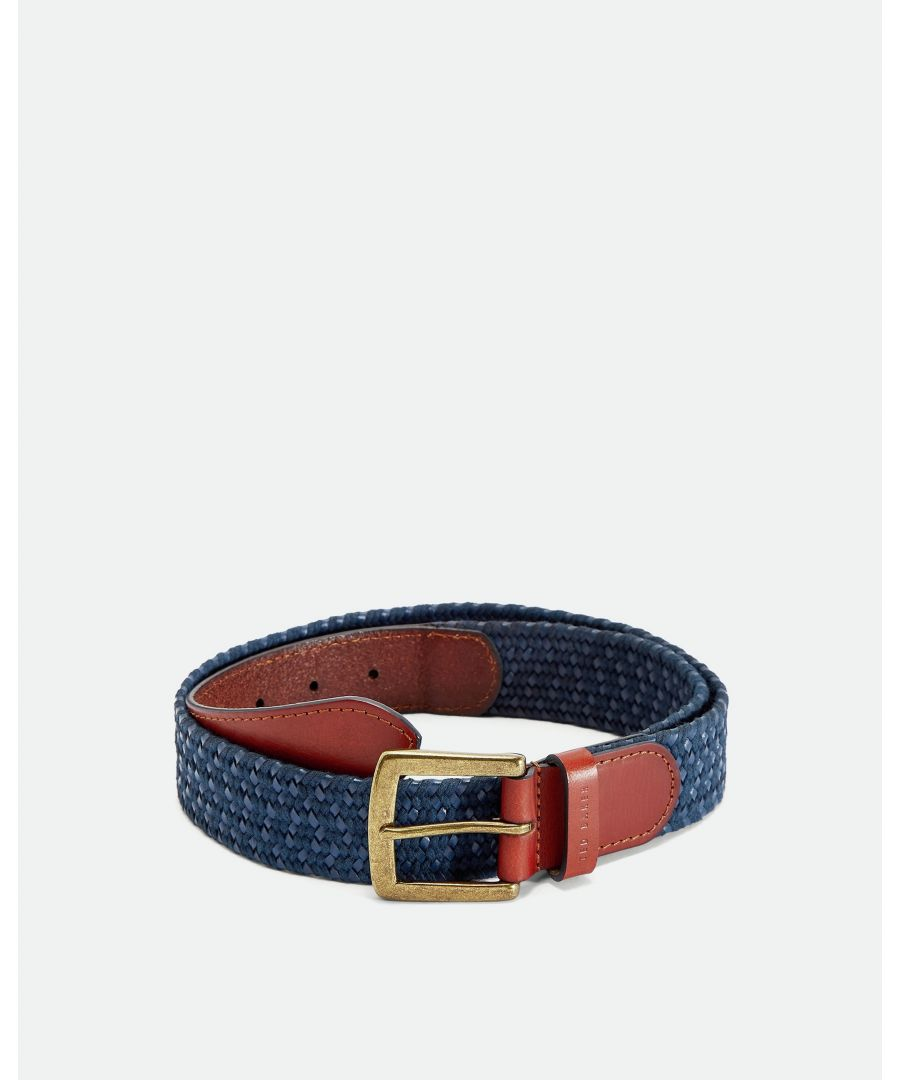 Image for Ted Baker Galan Leather Woven Belt, Navy