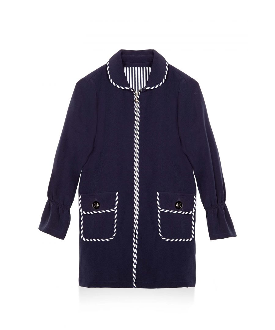 Image for STRIPE TRIM PEA COAT