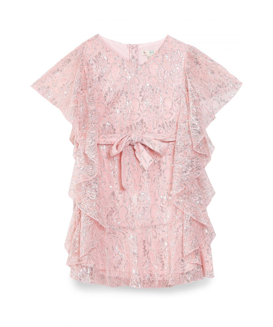 Image for METALLIC LACE FRILL DRESS