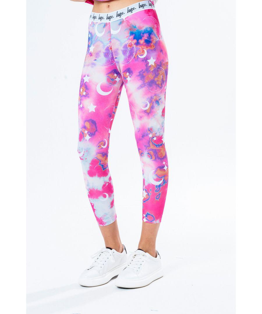Image for Hype Pink Cloud Mystic Kids Leggings