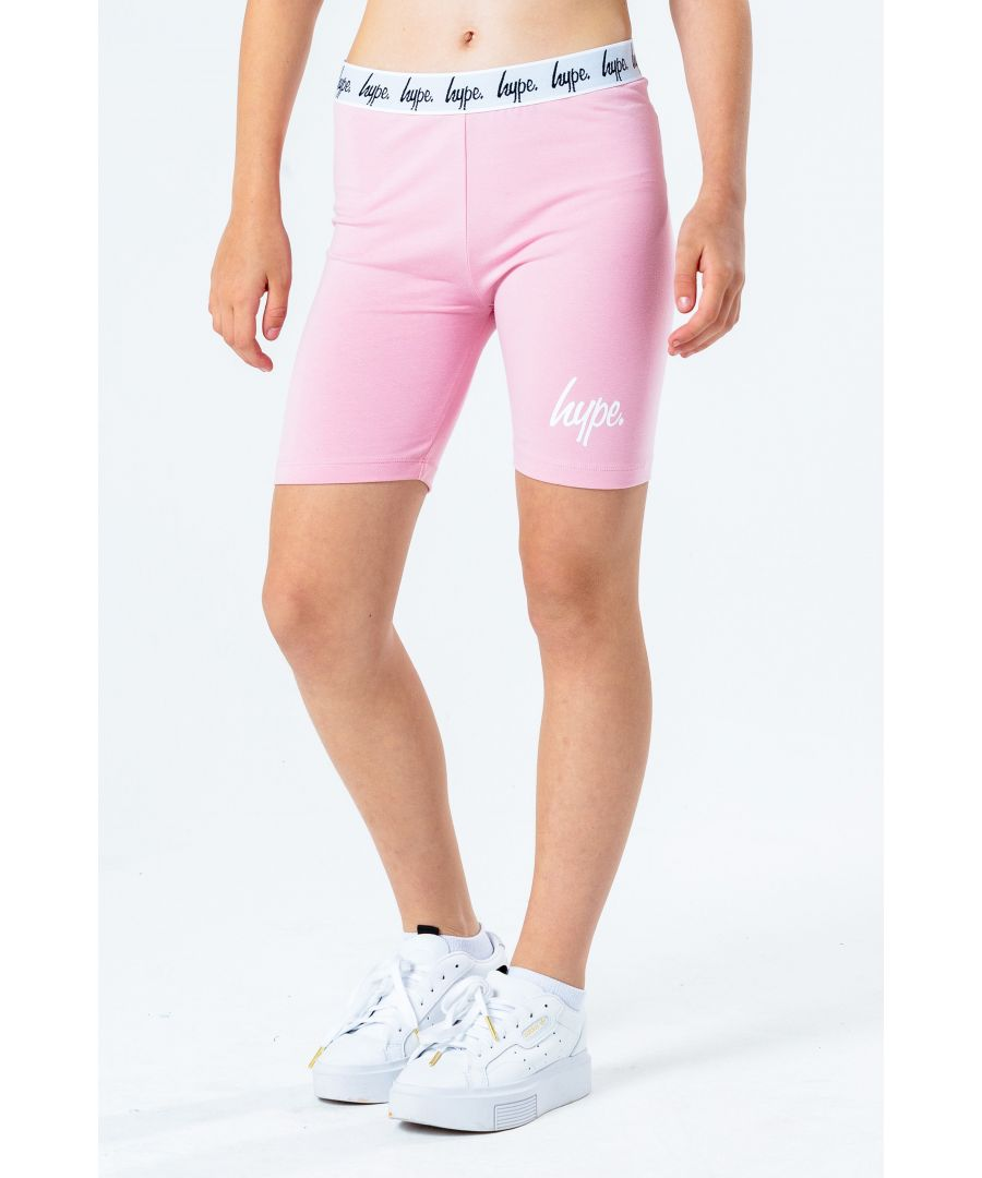 Image for Hype Pink Script Kids Cycling Shorts