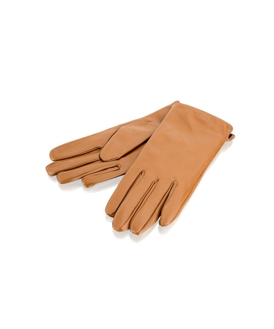 Image for Ladies Tan Side Slit Leather Gloves