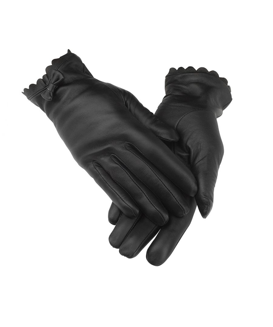 Image for Ladies Black Bow Tie Leather Gloves