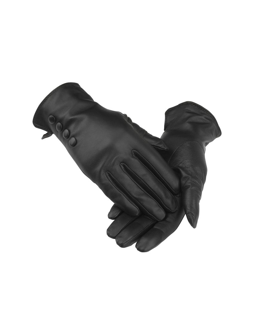 Image for Ladies Black 4 Button Leather Gloves