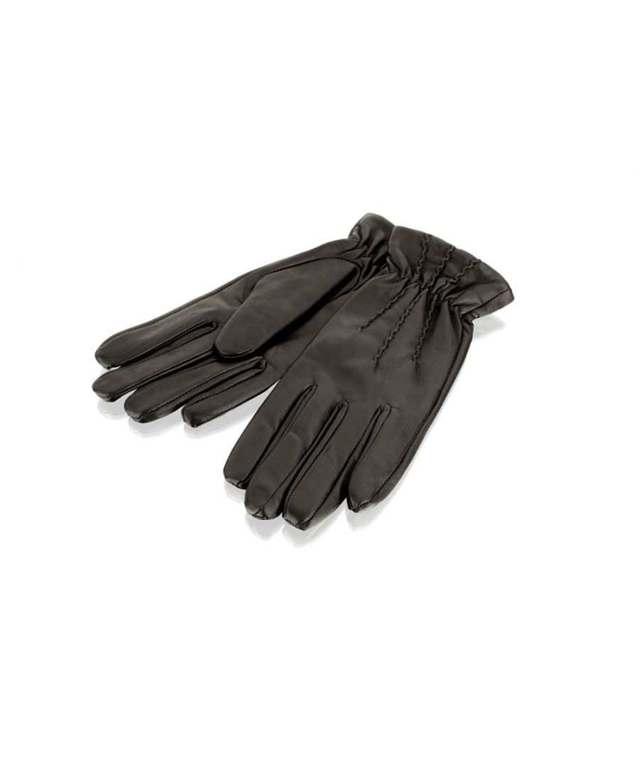 Image for Ladies Brown Pin Tuck Leather Gloves